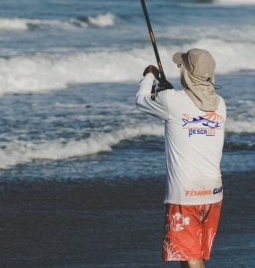 surf fishing from the beach