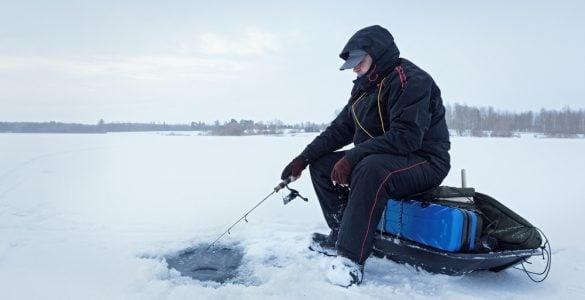 ice fishing sled on a lake