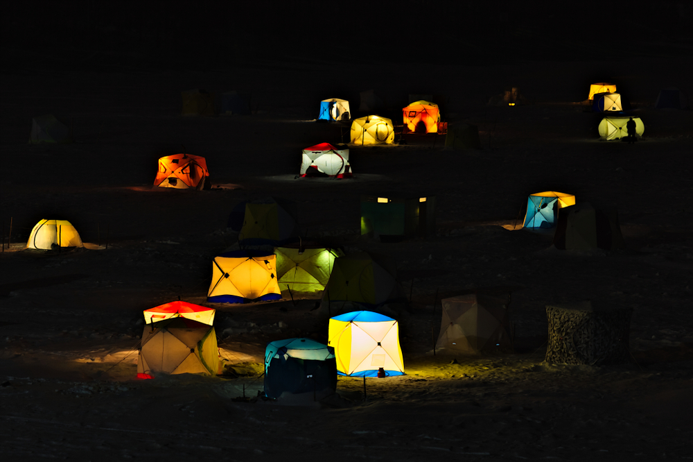 Glowing tents on the ice