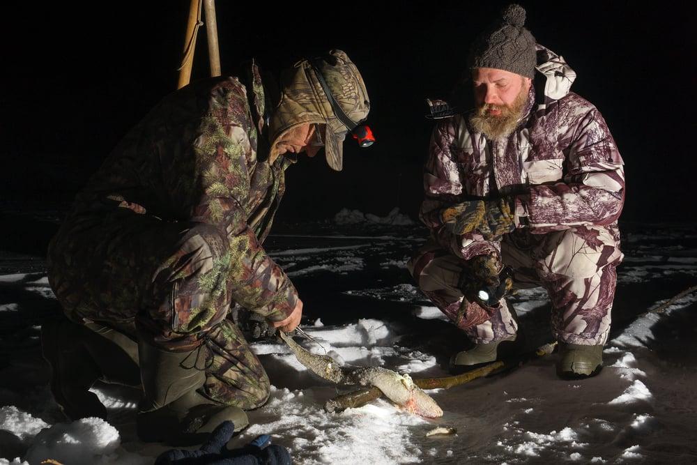 ice fishing in the dark