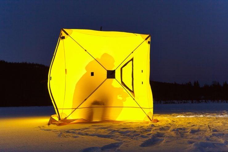 ice fishing at night