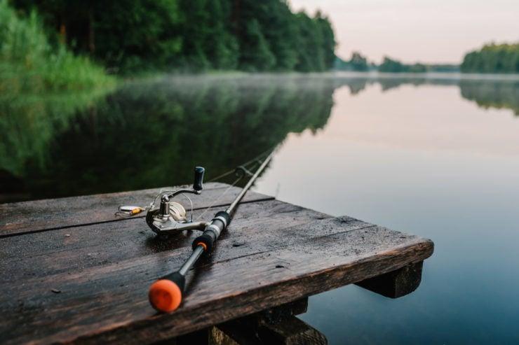 fishing rod on a dock