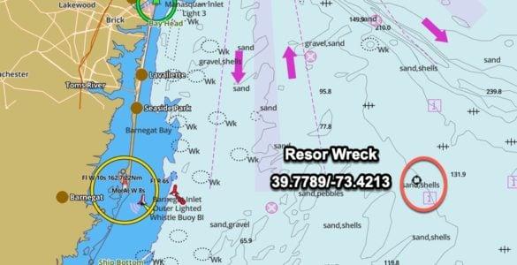Resor Wreck gps coordinates