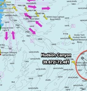 hudson canyon GPS coordinates