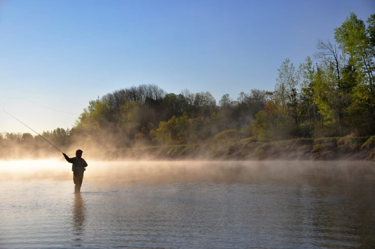 early morning river fishing in franklin county pa