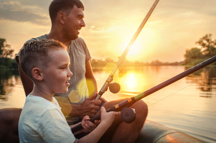 happy family fishing in clearfield county