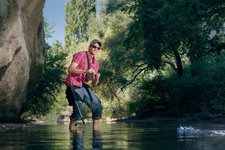 happy man fishing in monroe county pa