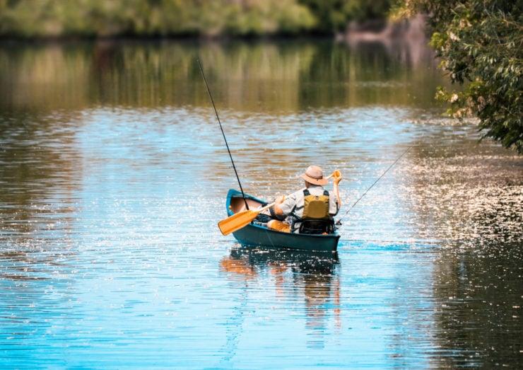 man canoe fishing in wyoming county pa