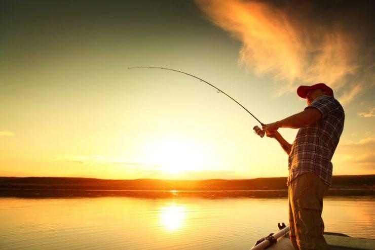 man fishing on lake in adams county pa