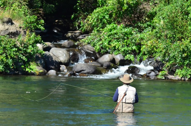 man fly fishing in wayne county pa