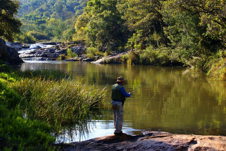 man fly fishing in morgan county in al