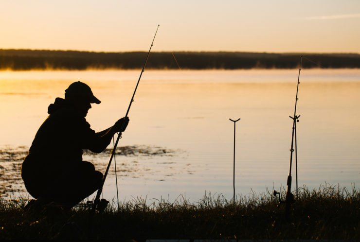 man preparing for river fishing in venango county pennsylvania