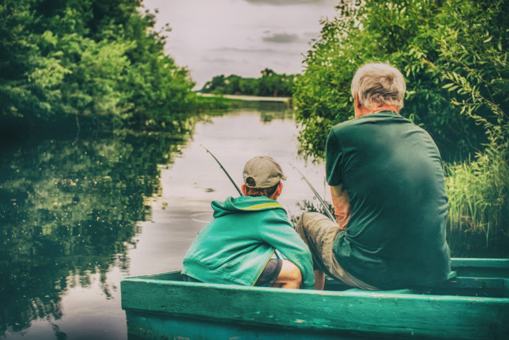old man and grandson river fishing in lehigh county pennsylvania