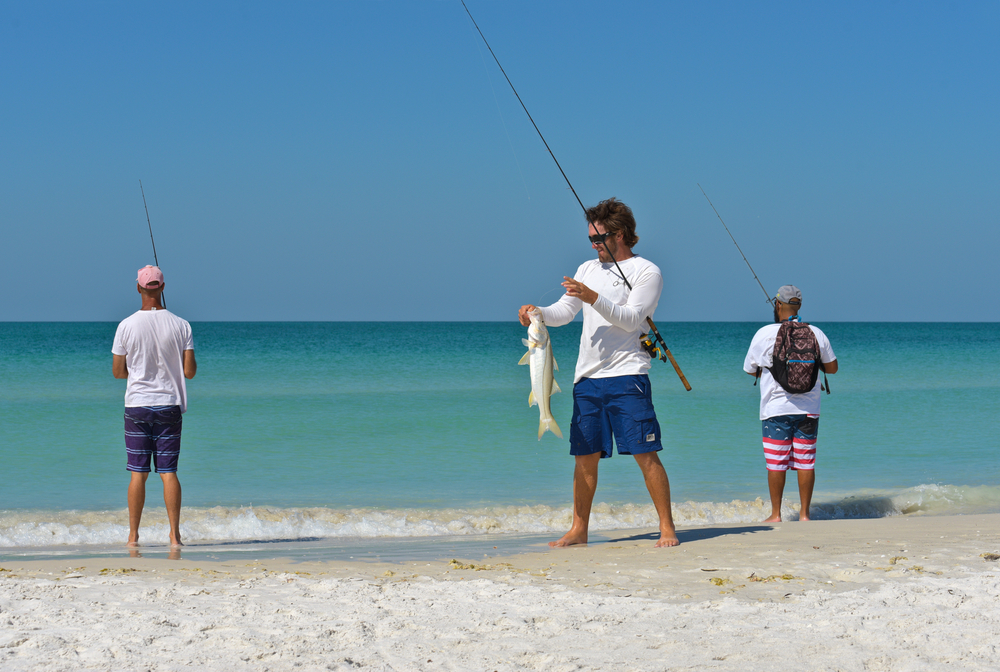 catching a fish on the beach