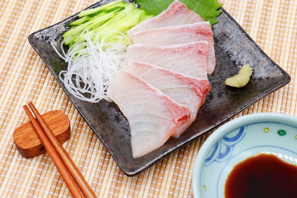 Greater amberjack sashimi called KANPACHI in Japanese