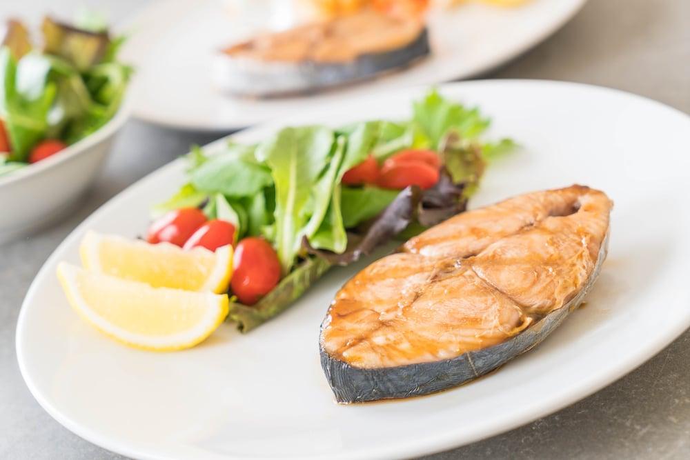 grilled mackerel fish steak
