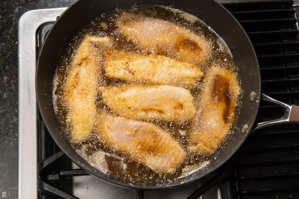 Pan-frying perch fillets
